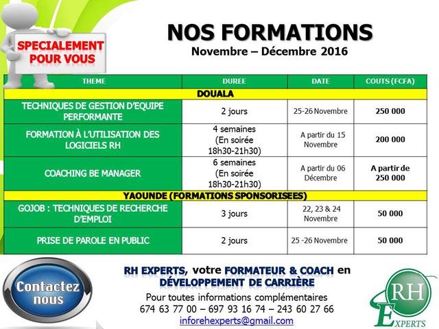 Programme de formation rh experts novembre d cembre 2016 - Les cabinets de recrutement au cameroun ...